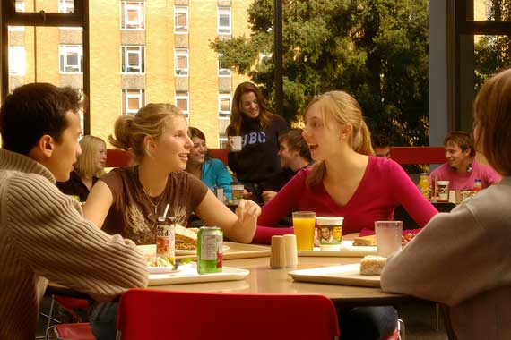 Students eating in a dining hall
