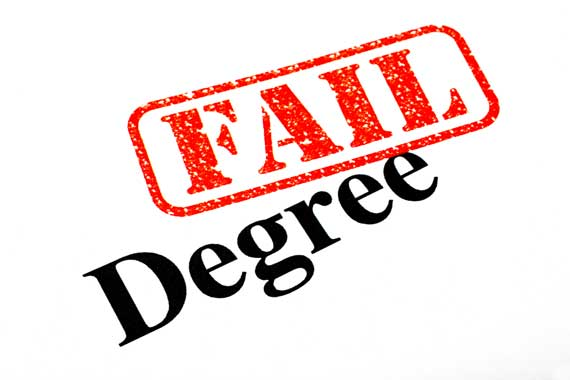 Red fail stamp on a degree.