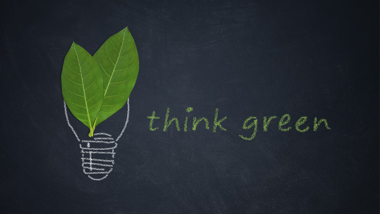 Think Green graphic shows green leaves inside a lightbulb.
