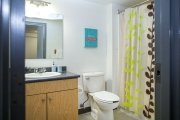 Private bathroom in a one bedroom suite at UBCO, Monashee Place.