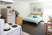 Studio suite with full kitchen, UBCO Monashee Place.