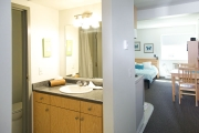 Studio suites have private bathrooms. UBCO Monashee Place.
