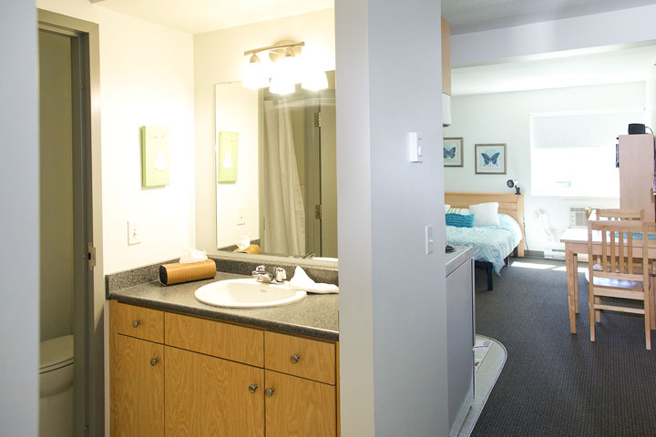 Studio suites have private bathrooms. UBCO Monashee Place.