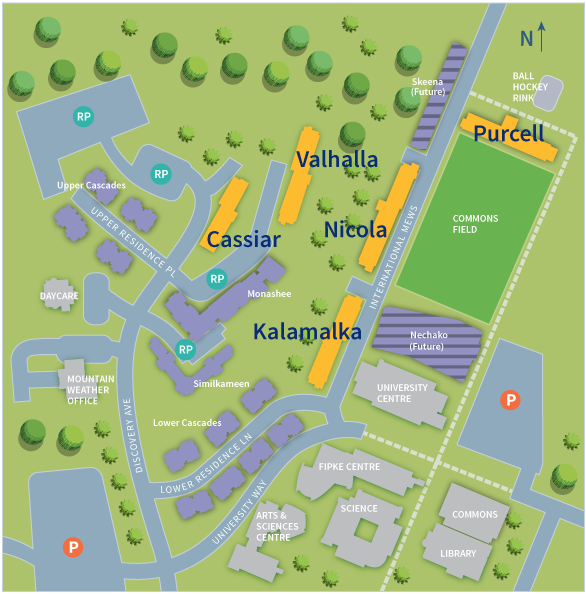 UBC Okanagan Residence Map | Cassiar, Valhalla, Kalamalka, Nicola, Purcell